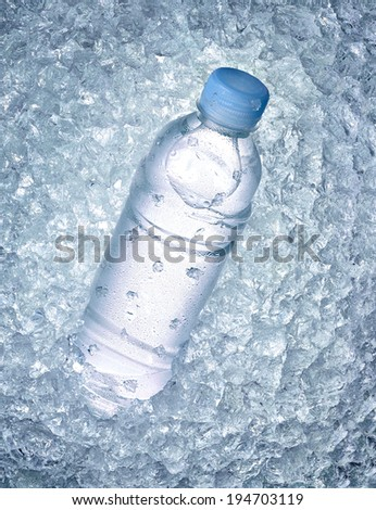 close up of a water bottle in ice