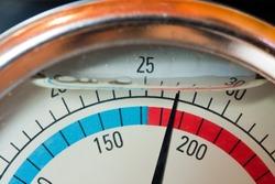 Close-up of a water manometer (pressure meter).
