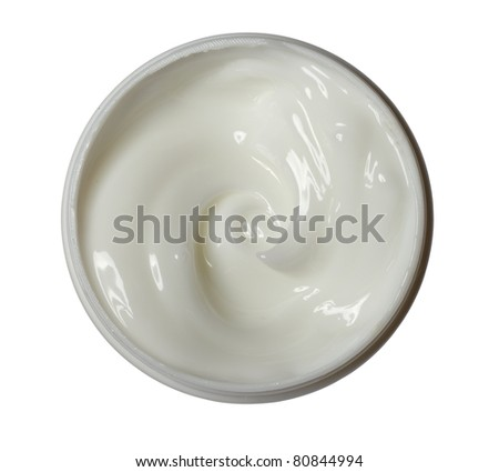 close up of a white beauty cream on white background with clipping path