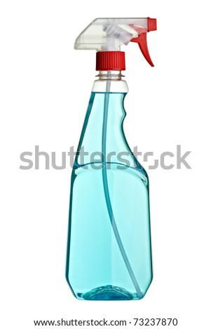 close up of a white blank sanitary bottle on white background with clipping path