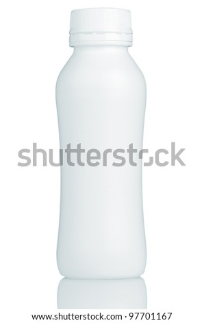 Close up of a white bottle on white background - stock photo