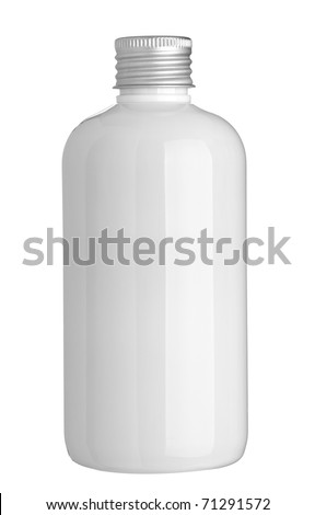 close up of a white bottle on white background with clipping path