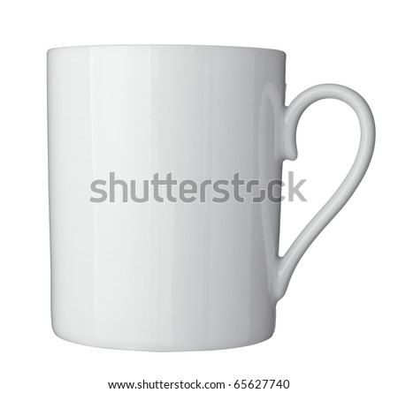 close up of  a white coffee cup on white background  with clipping path