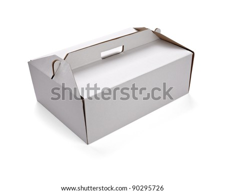 close up of  a white delivery box on white background with clipping path