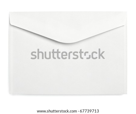 close up of a white empty envelope on white background with clipping path