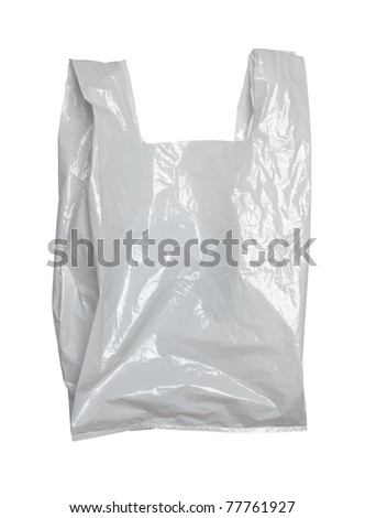 close up of a white plastic bag on white background with clipping path
