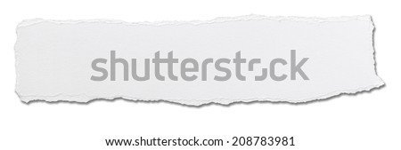 close up of  a white ripped piece of paper on white background #208783981