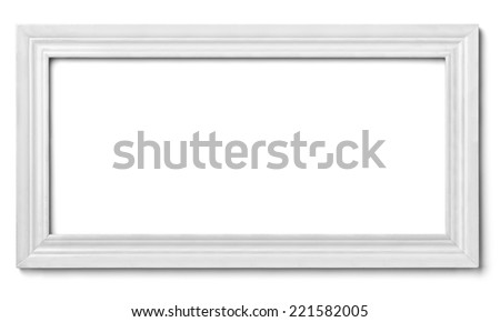 close up of  a white wood frame on white background