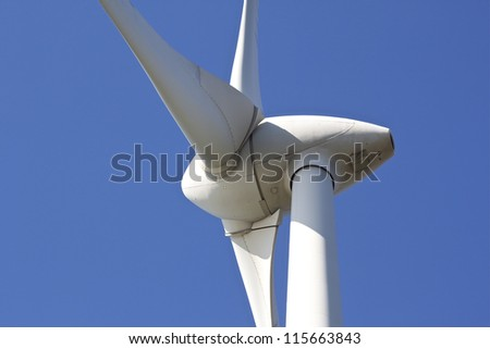 Close up of a wind turbine