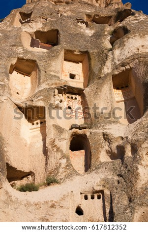 Close-up of a windows in Uchisar Castle, cave houses in Cappadocia, central Turkey #617812352