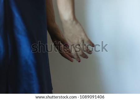 close up of a woman hand sad...