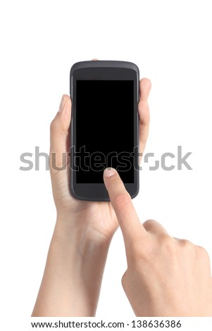 Close up of a woman hands holding and touching a blank mobile phone screen with her finger isolated on a white background
