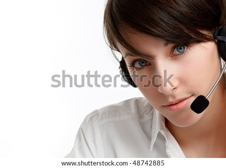 close-up of a woman helpline operator with headset - microphone and headphones, on white
