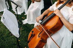 Close-up of a woman playing contra bass outdoors, at a wedding.