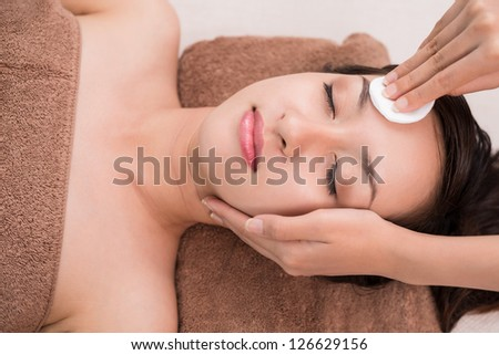 Close up of a woman's face in salon