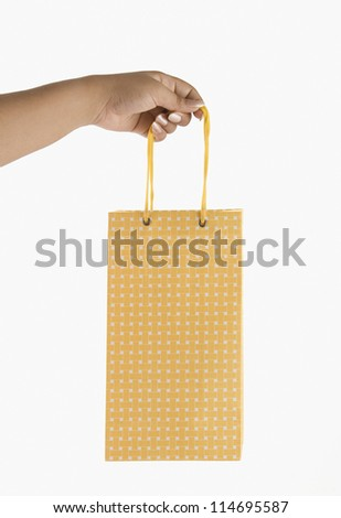 Close-up of a woman's hand holding a shopping bag