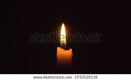 Close-up of a woman's hands lighting a candle with a match in the dark, it burns and after a while a gust of wind extinguishes it. Stock fotó ©
