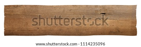 close up of a wooden sign on white background Stock foto ©