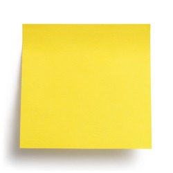 Close-up of a yellow blank sticker, isolated on white background