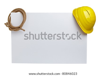 close up of  a yellow construction helmet and rope on white blank note white background with clipping path