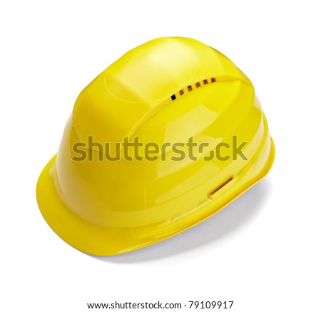 close up of  a yellow construction helmet on white background with clipping path