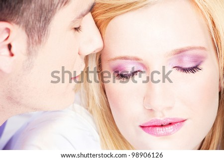 Close up of a young couple in love
