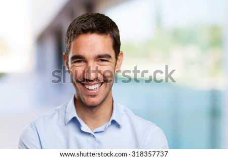 Close up of a young man smiling