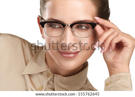 close up of a young smiling beautiful woman wearing eyeglasses  on white