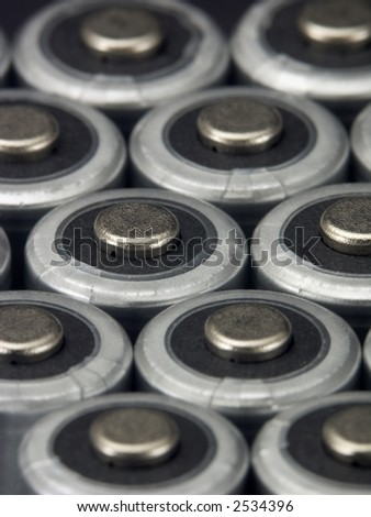 Close-up of AA batteries.