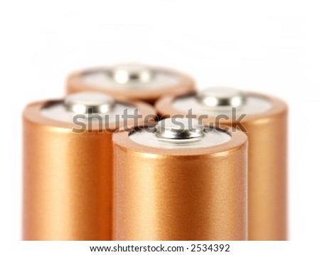 Close-up of AA batteries isolated on white.