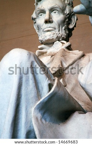 Close up of Abraham Lincoln, Lincoln Memorial in Washington DC