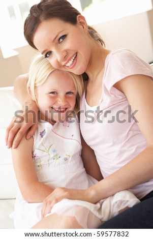 Close Up Of Affectionate Mother And Daughter At Home - stock photo