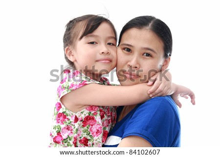 Close Up Of Affectionate Mother And Daughter on white isolated background