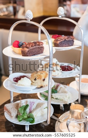 Close up of Afternoon Tea Set. Soft Focus #557605525