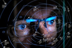close up of air traffic controller looking at screen selective focus