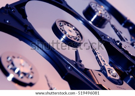 close up of aligned group of computer hard drives