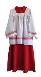 Close up of Altar Boy Tunic with White background. Red and White