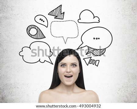 Businesswoman Drawing Happy Face On The Wall Images And