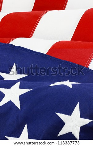 Close up of American flag waving in wind.