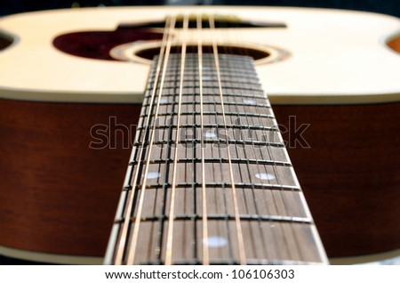 close-up of an acoustic twelve strings guitar