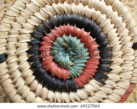 Close-up of an African design on a hand-woven basket.