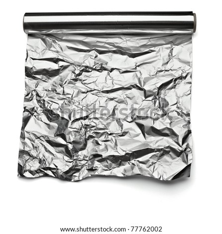 close up of an aluminum foil on white background with clipping path