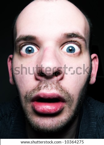 For amazed facial expression commit