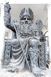 Close up of an ancient warrior statue in Odesa Ukraine