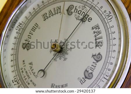 Close up  of an antique banjo barometer