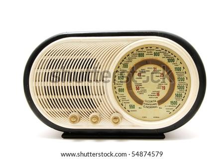 close up of an antique radio receptor