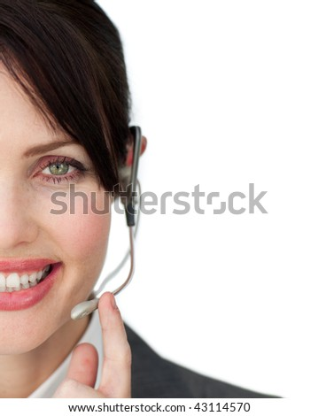 Close-up of an attractive customer service agent against a white background