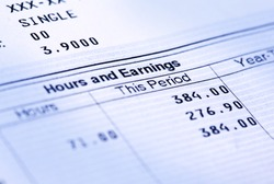 Close up of an earnings statement