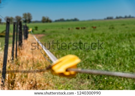 Close up of an electric fence to keep the animals inside the corral with shallow depth of field
