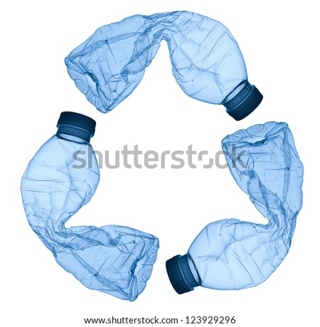 close up of an empty used plastic bottle on white background